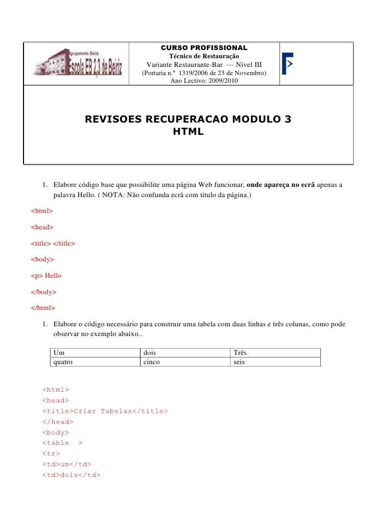 CURSO PROFISSIONALTécnico de Restauração Variante Restaurante-Bar  — Nível III(Portaria n.º 1319/2006 de 23 de Novembro)A...