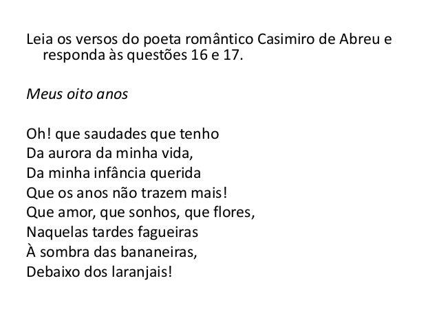 Mais Um Ano De Vida Da Minha Querida Irmã: Revisão Poesia Romântica Brasileira