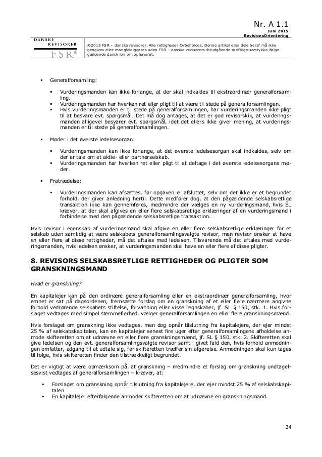Nr. A 1.1 Juni 2015 RevisionsOrientering ©2015 FSR – danske revisorer. Alle rettigheder forbeholdes. Denne artikel eller d...