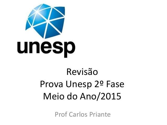 Revisão Prova Unesp 2º Fase Meio do Ano/2015 Prof Carlos Priante