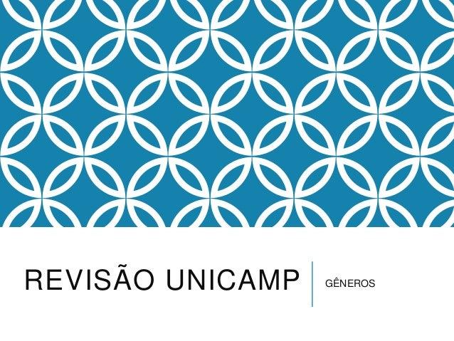 REVISÃO UNICAMP  GÊNEROS