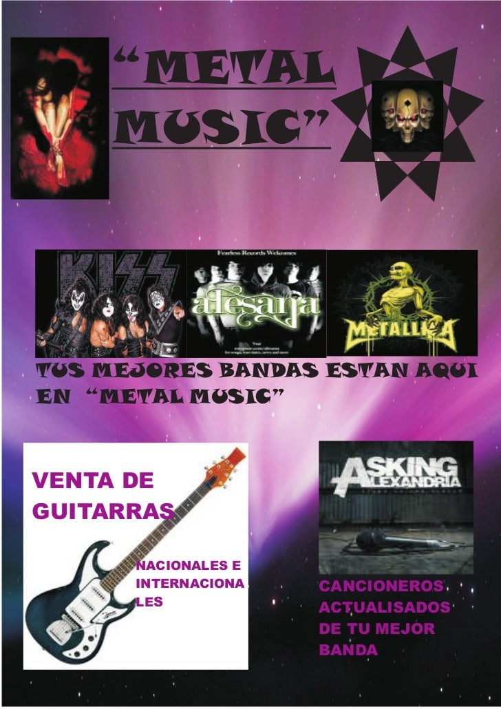 """METAL     MUSIC""TUS MEJORES BANDAS ESTAN AQUIEN ""METAL MUSIC""VENTA DEGUITARRAS      NACIONALES E      INTERNACIONA   CANC..."