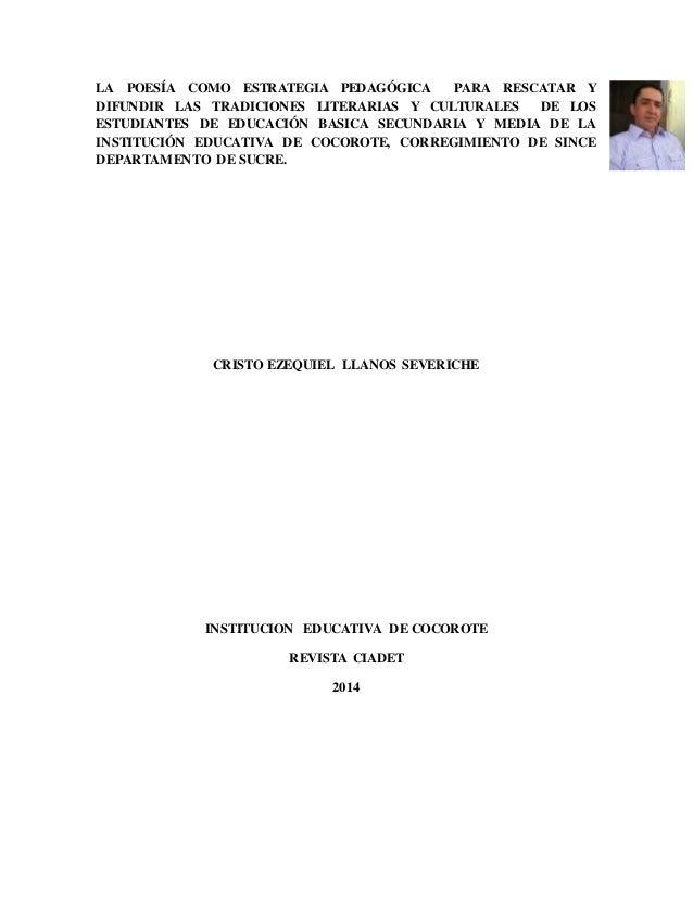 LA POESÍA COMO ESTRATEGIA PEDAGÓGICA PARA RESCATAR Y  DIFUNDIR LAS TRADICIONES LITERARIAS Y CULTURALES DE LOS  ESTUDIANTES...