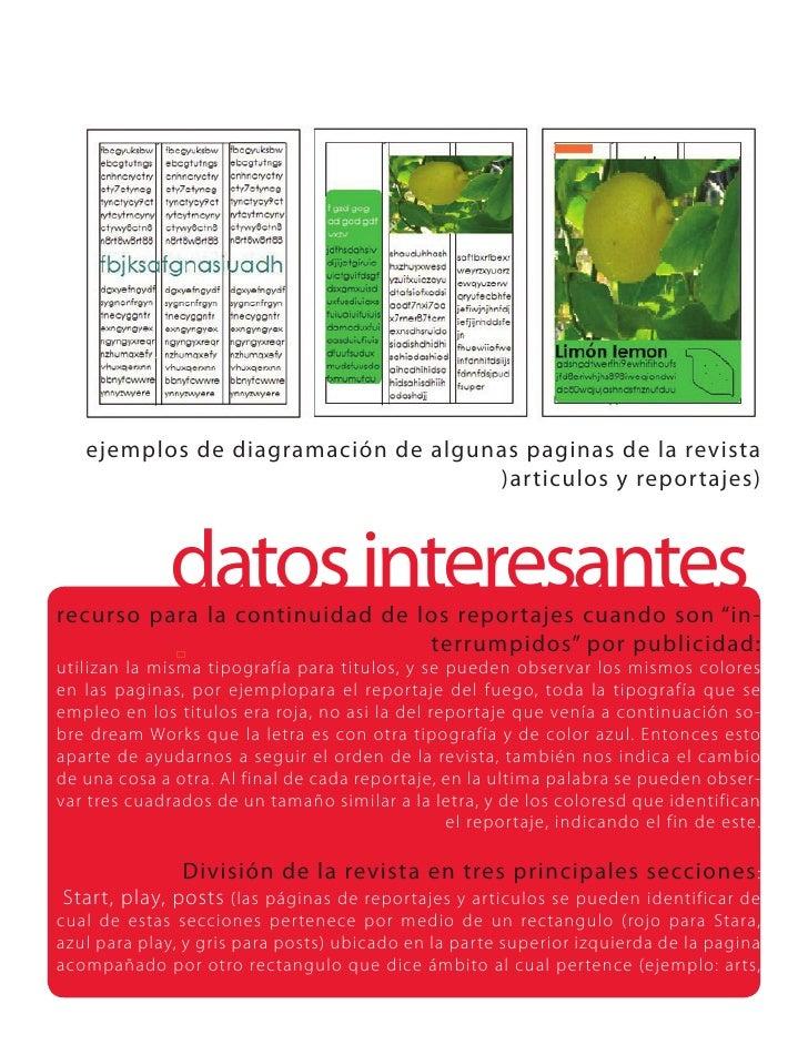 ejemplos de diagramación de algunas paginas de la revista                                     )articulos y reportajes)    ...