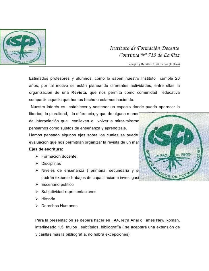 Instituto de Formación Docente                                                  Continua Nº 715 de La Paz                 ...