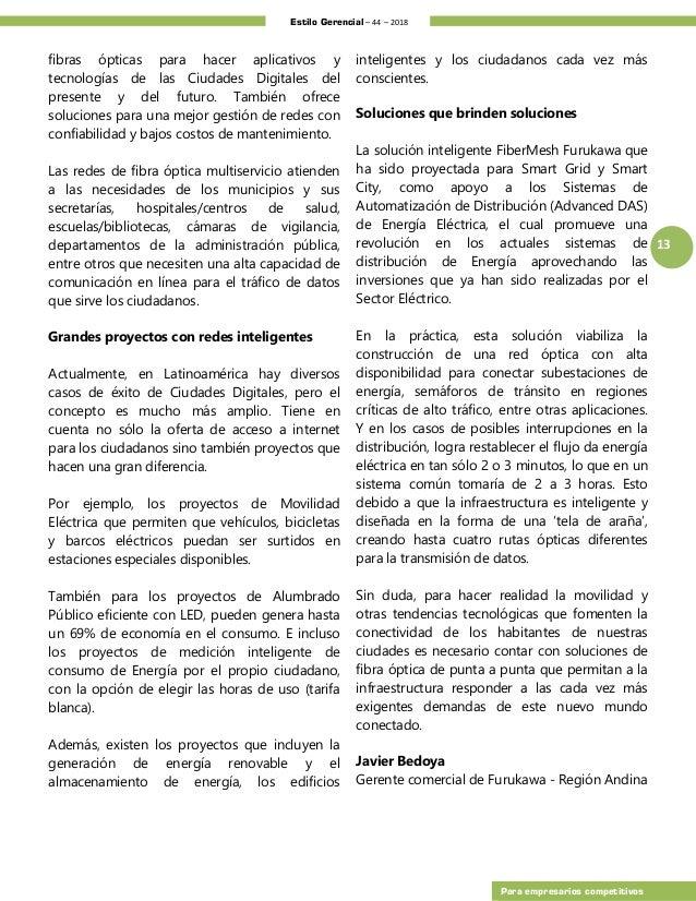 Estilo Gerencial – 44 – 2018 13 Para empresarios competitivos fibras ópticas para hacer aplicativos y tecnologías de las C...