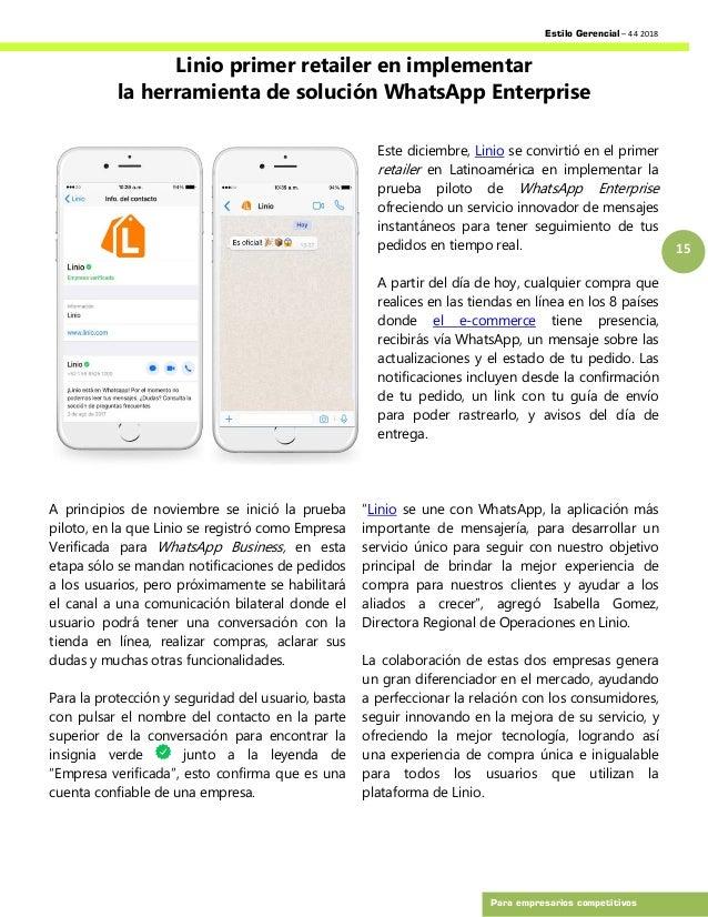 Estilo Gerencial – 44 2018 15 Para empresarios competitivos Linio primer retailer en implementar la herramienta de solució...