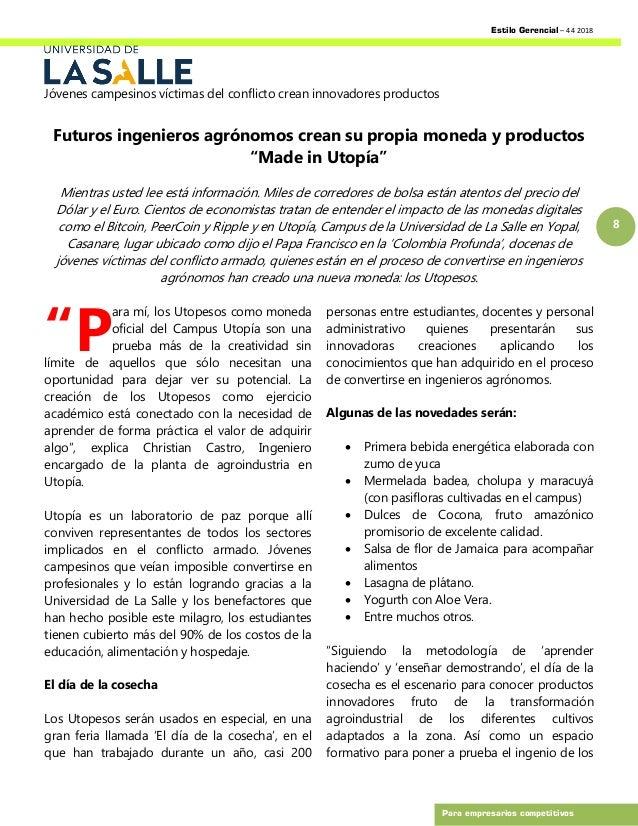 Estilo Gerencial – 44 2018 8 Para empresarios competitivos Jóvenes campesinos víctimas del conflicto crean innovadores pro...