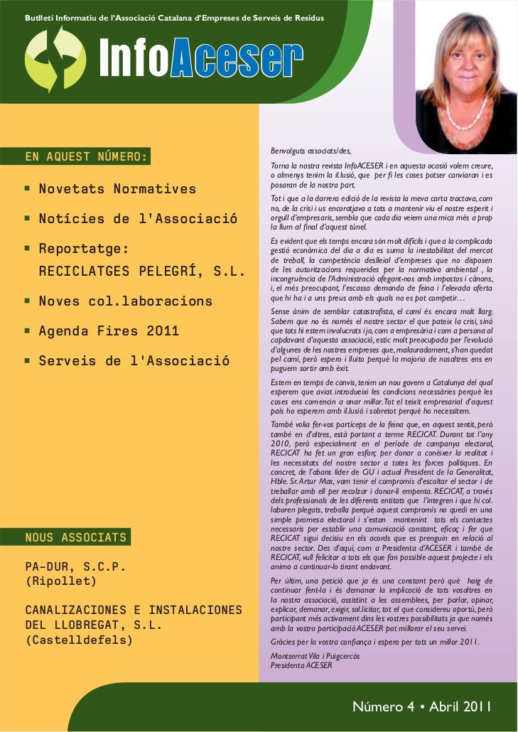 Butlletí Informatiu de l'Associació Catalana d'Empreses de Serveis de Residus                   InfoAceser                ...