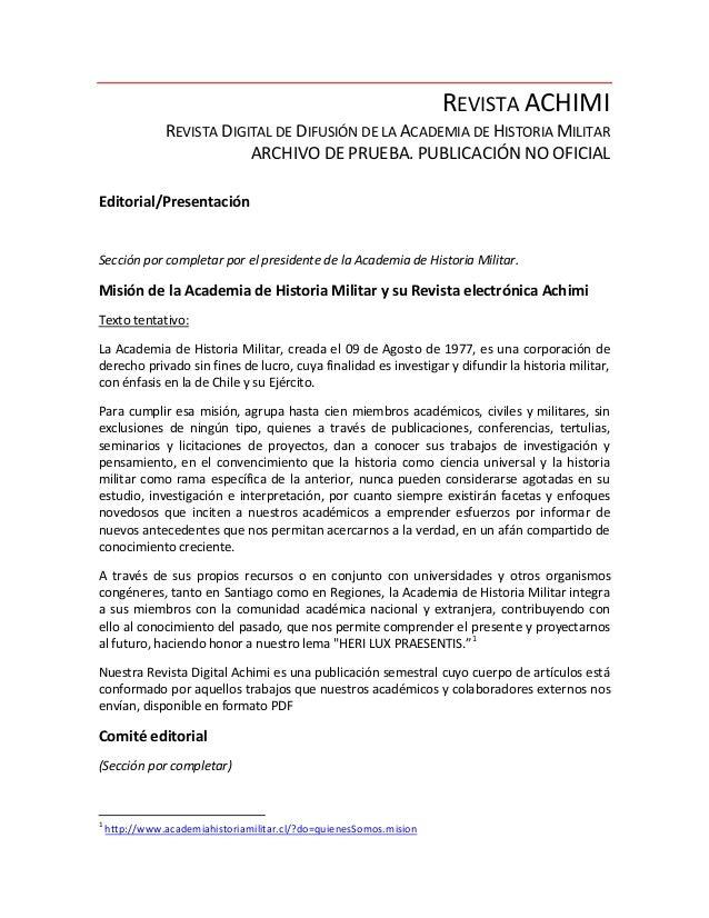 REVISTA ACHIMI               REVISTA DIGITAL DE DIFUSIÓN DE LA ACADEMIA DE HISTORIA MILITAR                           ARCH...