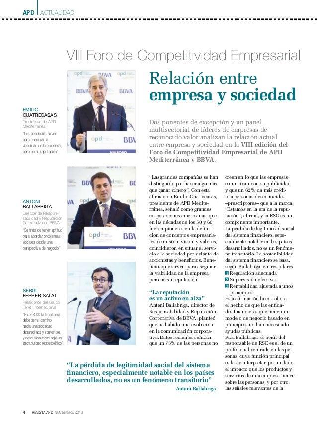 apd ACTUALIDAD  VIII Foro de Competitividad Empresarial  Relación entre empresa y sociedad emilio cuatrecasas  Dos ponente...
