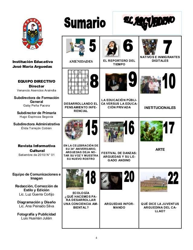 Revista arguedina n 1 for Amenidades para periodico mural