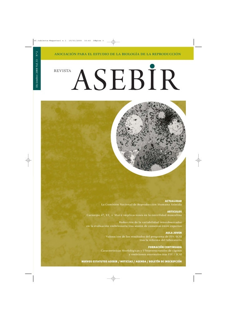 Diciembre 2008 Vol.13 · Nº2                               ASOCIACIÓN PARA EL ESTUDIO DE LA BIOLOGÍA DE LA REPRODUCCIÓN    ...