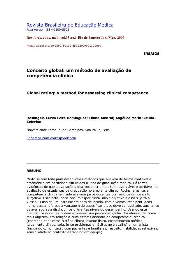 Revista brasileira de educação médica competencias medicas