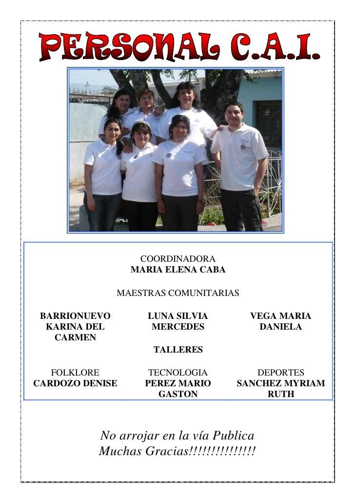 COORDINADORA                 MARIA ELENA CABA               MAESTRAS COMUNITARIAS BARRIONUEVO        LUNA SILVIA        VE...