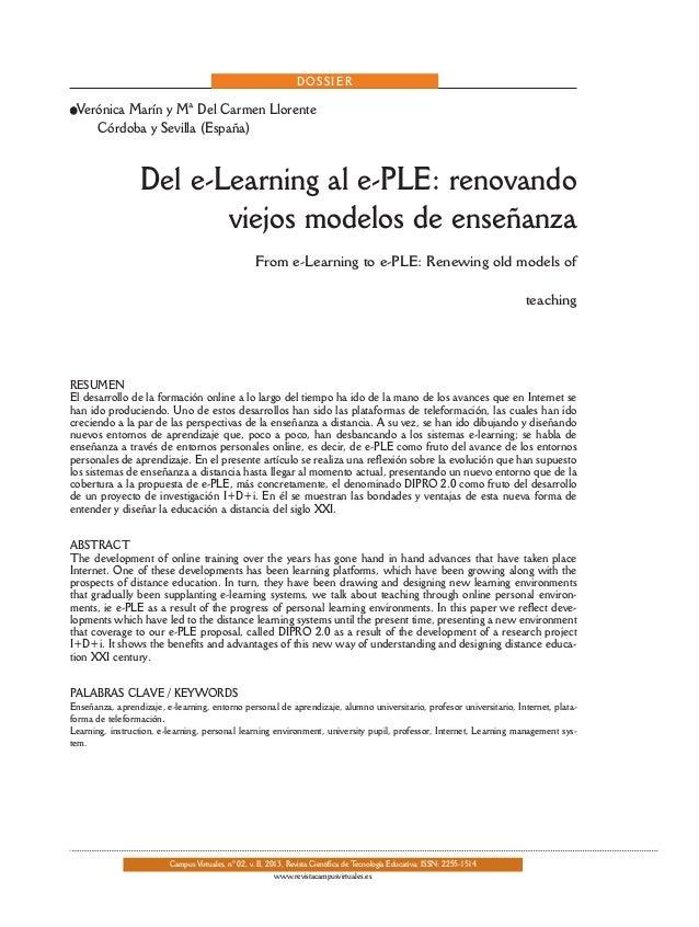 DOSSIER  lVerónica  Marín y Mª Del Carmen Llorente Córdoba y Sevilla (España)  Del e-Learning al e-PLE: renovando viejos m...