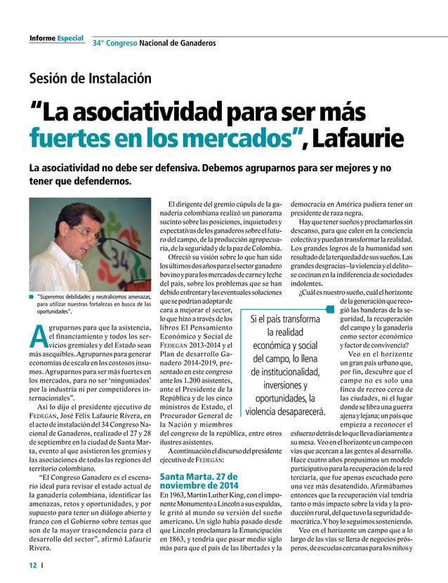 13  FEDERACIÓN COLOMBIANA DE GANADEROS carta fedegÁn N.° 145 centrosdesaludquesonesperanzadeaten- ciónydevidaparalosenfer...