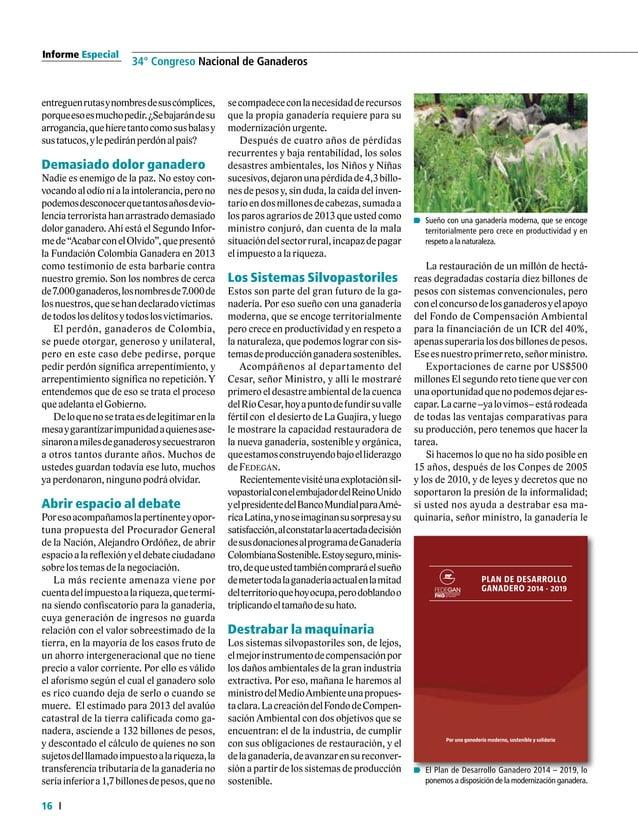 """Informe Especial 18 34° Congreso Nacional de Ganaderos Ministro de Agricultura y de Desarrollo Rural """"EnColombiapodemosdes..."""