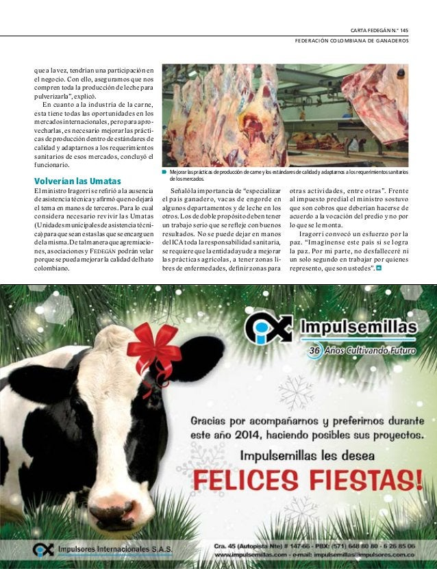 21  FEDERACIÓN COLOMBIANA DE GANADEROS carta fedegÁn N.° 145  Víctor Manuel Fajardo Becerra  Maritza del Rosario LeónVa...