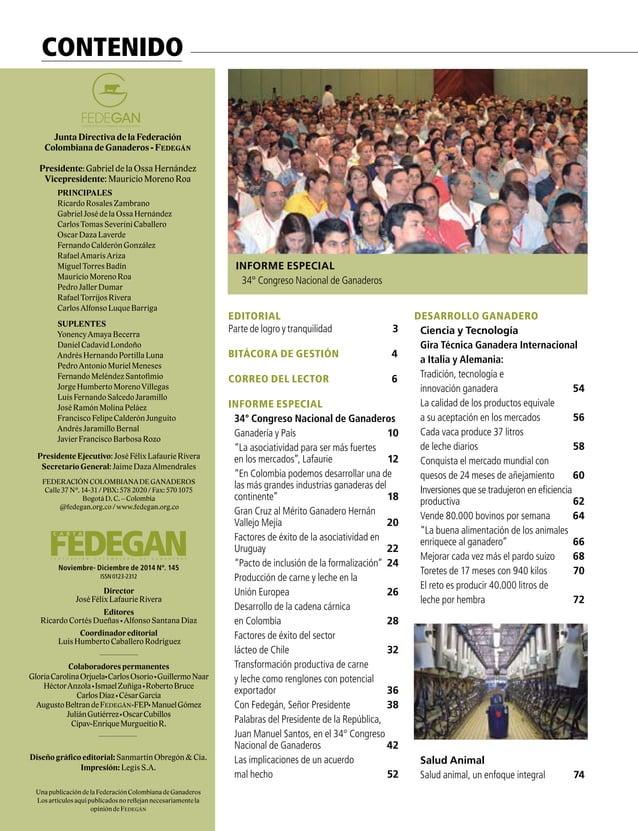 9  FEDERACIÓN COLOMBIANA DE GANADEROS carta fedegÁn N.° 145 Portada: 34° Congreso Nacional de Ganadero GANADERÍA Y AMBIEN...