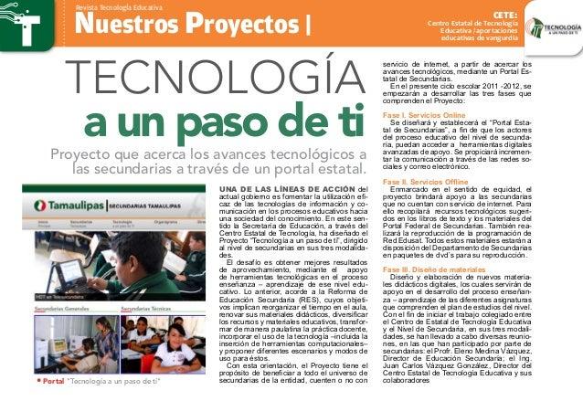 Nuestros Proyectos | Revista TecnologÍa Educativa Centro Estatal de Tecnología Educativa / aportaciones educativas de vang...