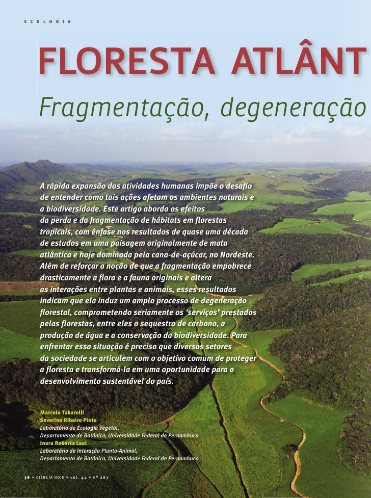E C O L O G I A          FLORESTA ATLÂNT      Fragmentação, degeneração         A rápida expansão das atividades humanas i...