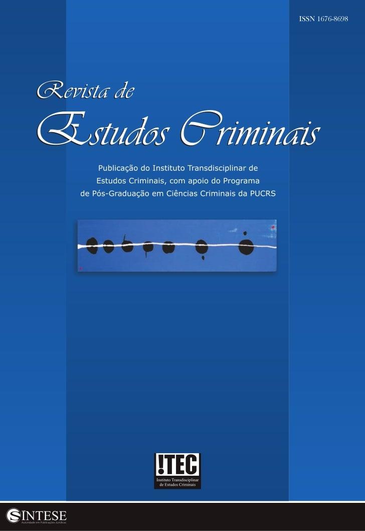 SumárioDoutrina EstrangEira9     Justicia, Propiedad y Prevención      (Juan Pablo Mañalich R.)Doutrina nacional33    A Cr...