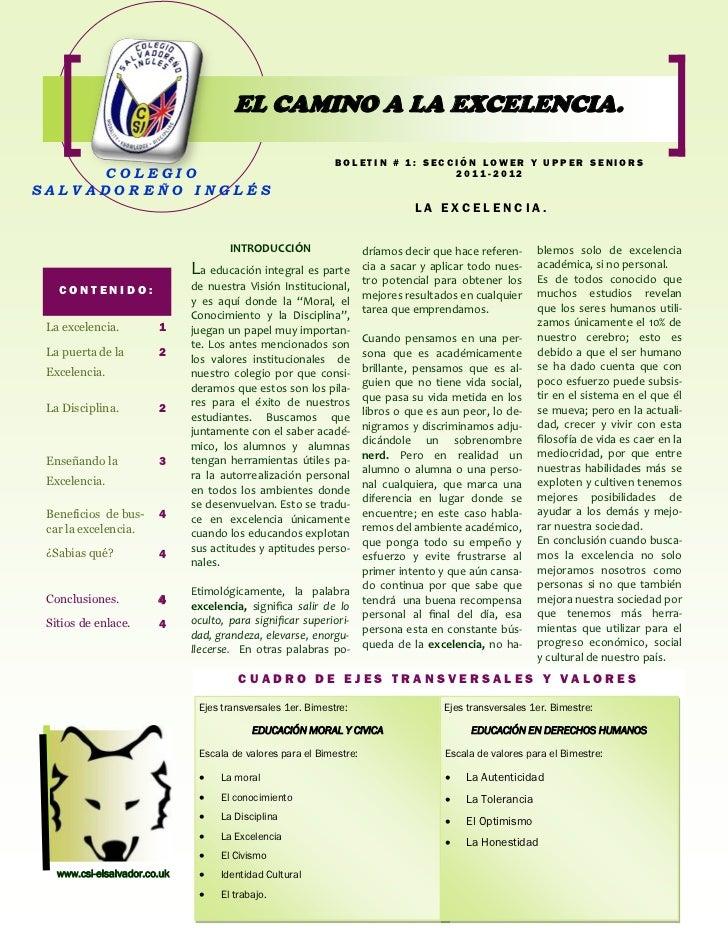 EL CAMINO A LA EXCELENCIA.                                                             BOLETIN # 1: SECCIÓN LOWER Y UPPER ...