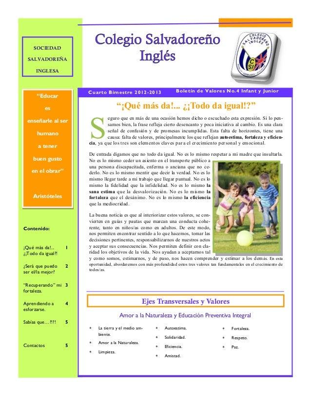 SOCIEDAD  SALVADOREÑA      INGLESA                        Cuarto Bimestre 2012-2013                     Boletín de Valores...