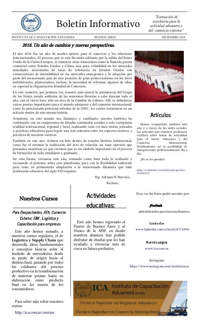 """Boletín Informativo """"Formación de excelencia para la actividad aduanera y del comercio exterior"""" INSTITUTO DE CAPACITACIÓN..."""