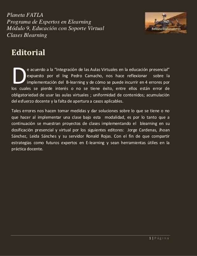 Planeta FATLA Programa de Expertos en Elearning Módulo 9, Educación con Soporte Virtual Clases Blearning  Editorial  D  e ...
