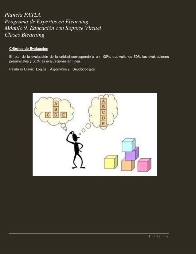 Planeta FATLA Programa de Expertos en Elearning Módulo 9, Educación con Soporte Virtual Clases Blearning Criterios de Eval...