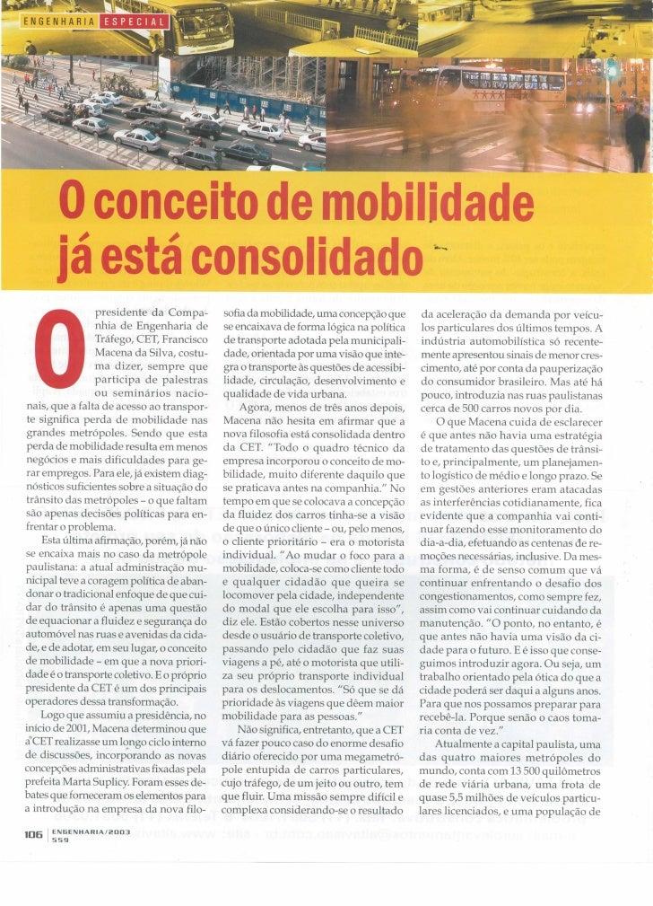 Revista Engenharia 559 de 2003 - conceito de mobilidade já está consolidado