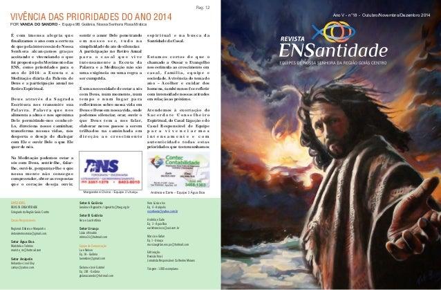 Pag. 12  Ano V - n°18 - Outubro/Novembro/Dezembro 2014  VIVÊNCIA DAS PRIORIDADES DO ANO 2014  EXPEDIENTE:  REVISTA ENSANTI...