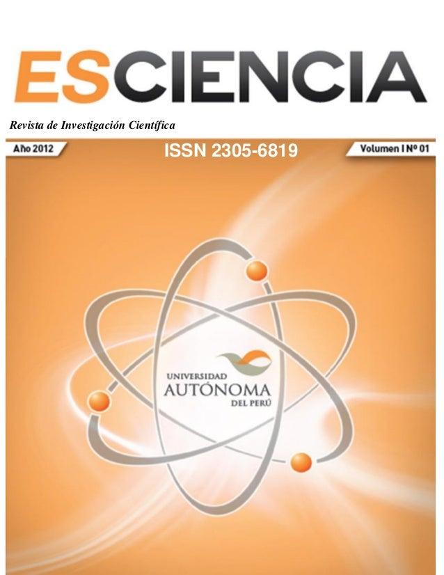 Revista de Investigación Científica ESCIENCIA   1Revista de Investigación Científica                                      ...