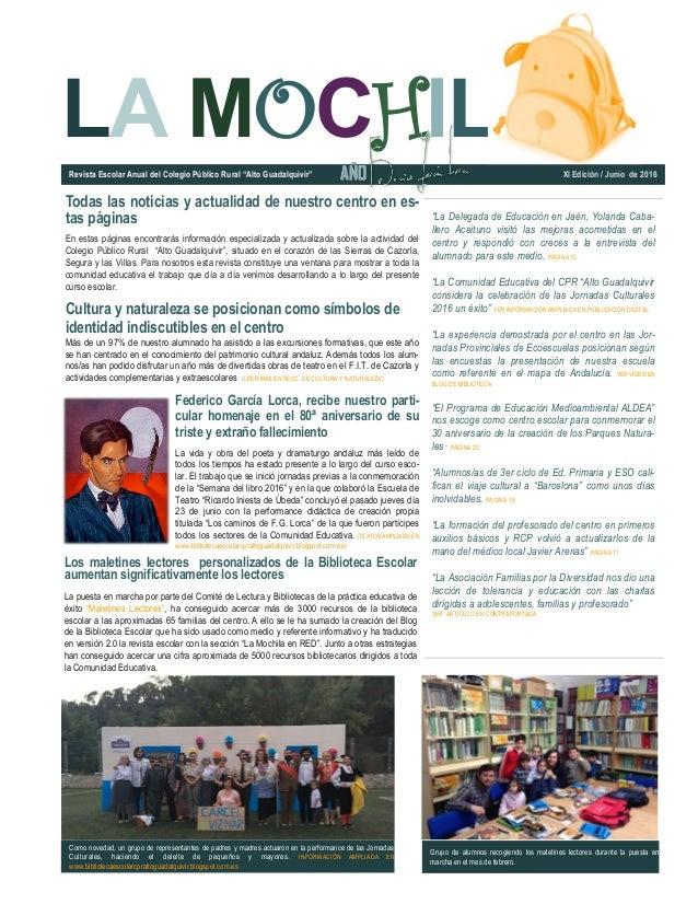 """LA MOCHIL """"La Delegada de Educación en Jaén, Yolanda Caba- llero Aceituno visitó las mejoras acometidas en el centro y res..."""
