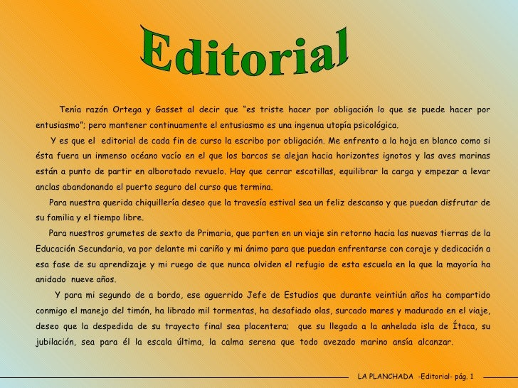 Revista escolar n 62 junio 2009 for Ejemplo de una editorial de un periodico mural