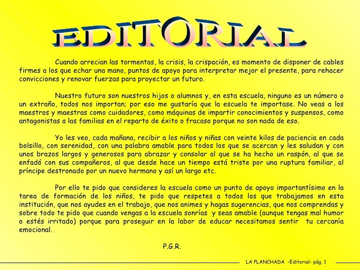 Revista escolar n 64 abril 2010 for Editorial de un periodico mural