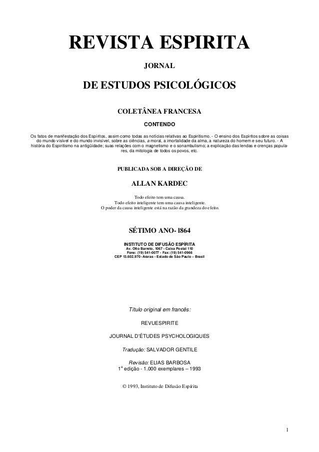1REVISTA ESPIRITAJORNALDE ESTUDOS PSICOLÓGICOSCOLETÂNEA FRANCESACONTENDOOs fatos de manifestação dos Espíritos, assim como...
