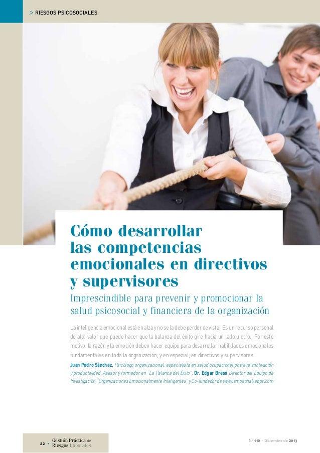 > RIESGOS PSICOSOCIALES  Cómo desarrollar las competencias emocionales en directivos y supervisores Imprescindible para pr...