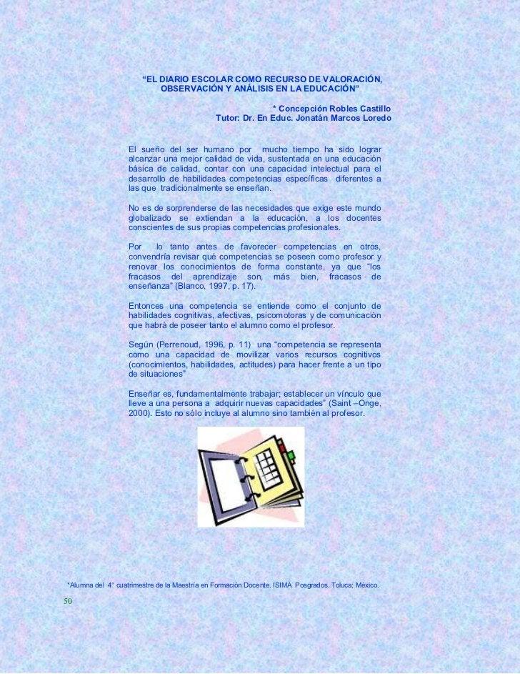 """""""EL DIARIO ESCOLAR COMO RECURSO DE VALORACIÓN,                           OBSERVACIÓN Y ANÁLISIS EN LA EDUCACIÓN""""          ..."""