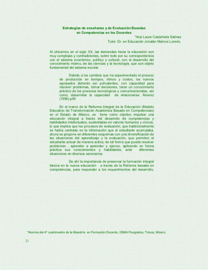 Estrategias de enseñanza y de Evaluación Basadas                                en Competencias en los Docentes           ...