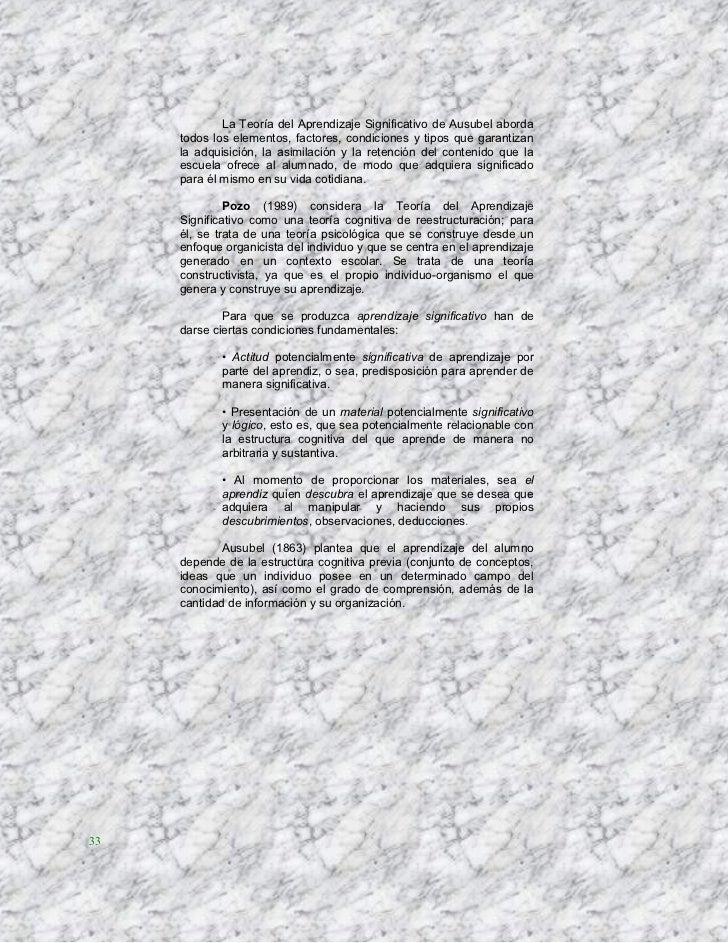 La Teoría del Aprendizaje Significativo de Ausubel aborda     todos los elementos, factores, condiciones y tipos que garan...