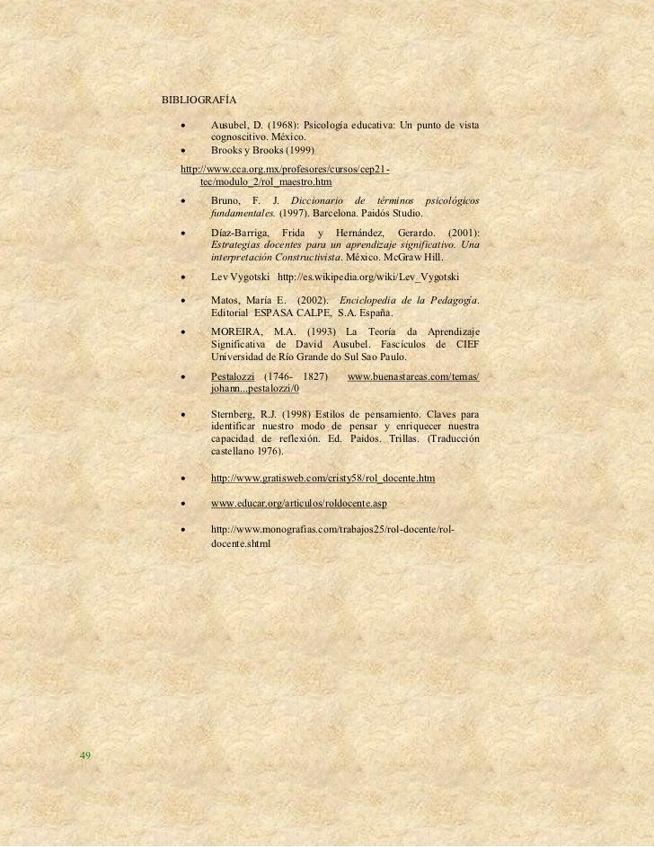 BIBLIOGRAFÍA             Ausubel, D. (1968): Psicología educativa: Un punto de vista              cognoscitivo. México.  ...