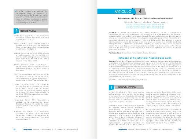Revista INNOVA Innovación, Ciencia y Tecnología, Vol. 1 Nº 1 / Febrero 2021 - Edición Segunda ISTB 22 Revista INNOVA Innov...