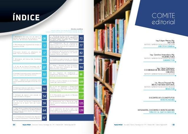 Revista INNOVA Innovación, Ciencia y Tecnología, Vol. 1 Nº 1 / Febrero 2021 - Edición Segunda ISTB 05 Revista INNOVA Innov...