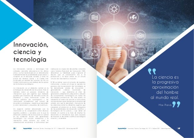 Revista INNOVA Innovación, Ciencia y Tecnología, Vol. 1 Nº 1 / Febrero 2021 - Edición Segunda ISTB 06 editorial La ciencia...