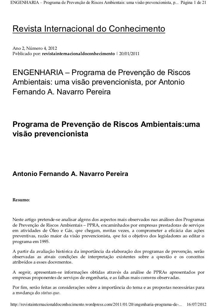 ENGENHARIA – Programa de Prevenção de Riscos Ambientais: uma visão prevencionista, p... Página 1 de 21 Revista Internacion...