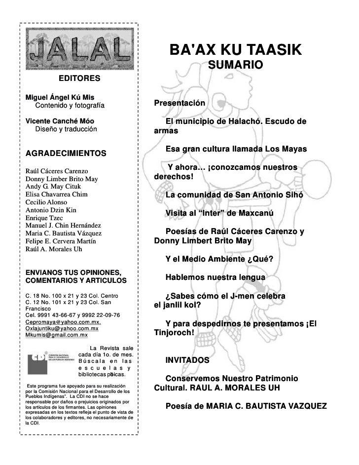 BA'AX KU TAASIK                                                                        SUMARIO                 EDITORES  M...