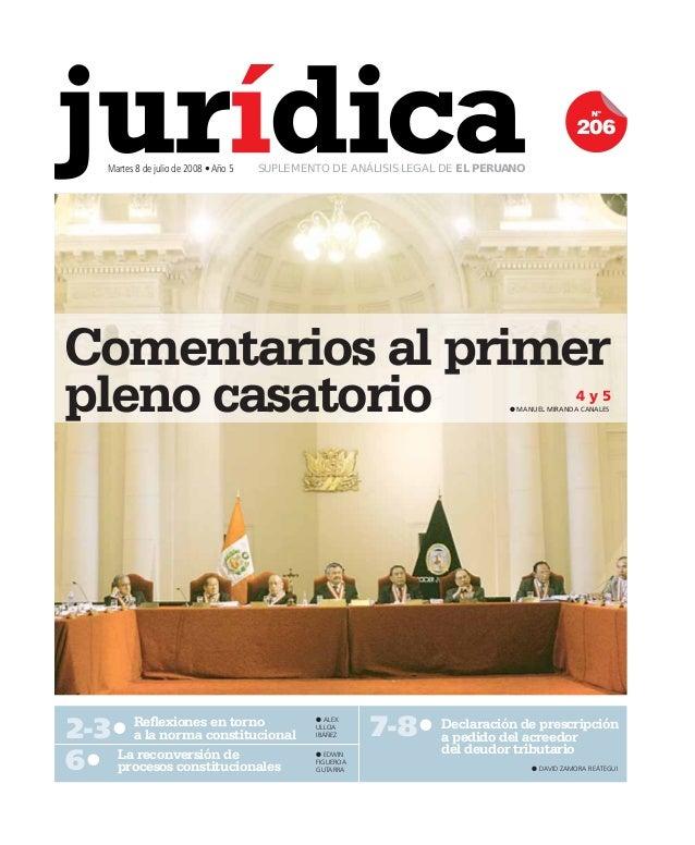 Comentarios al primer  pleno casatorio 4 y 5  2-3t Refl exiones en torno  OALEX  a la norma constitucional  ULLOA  IBÁÑEZ ...